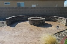 Custom concrete firepit with benches